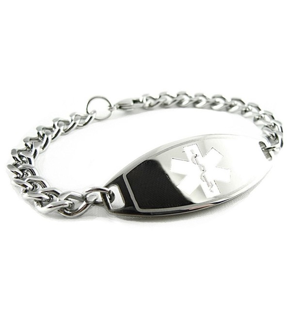 MyIDDr - Pre-Engraved & Customized Gluten Allergy Medical ID Bracelet- White - CY119I83QBR