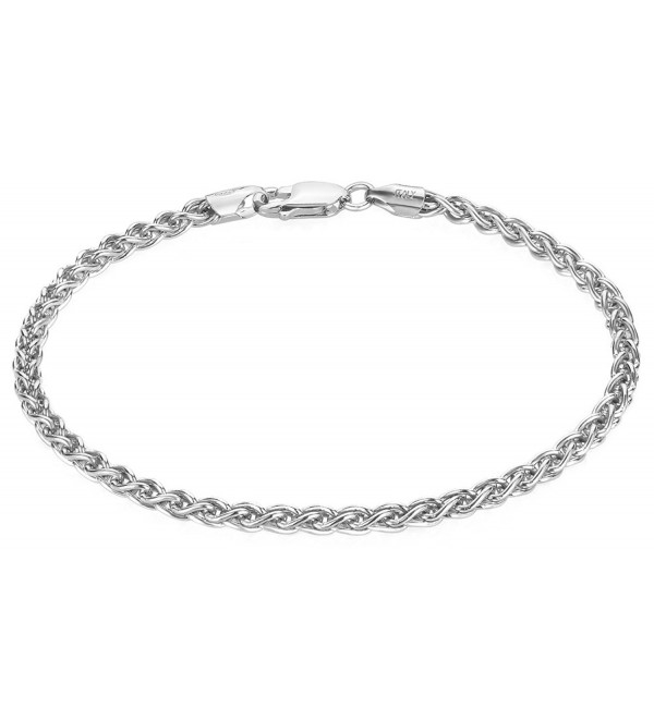 3.1mm Authentic 925 Sterling Silver Italian Crafted Rounded Wheat Chain Bracelet + Bonus Polishing Cloth - CM11UPWQS6P