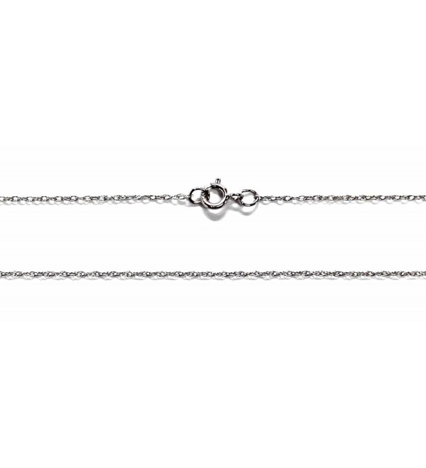"14Kt 14K White Solid Gold 15"" 16"" 18"" 20 24"" .8mm Dainty Rope Chain Spring Ring - CE12O6TOJ52"