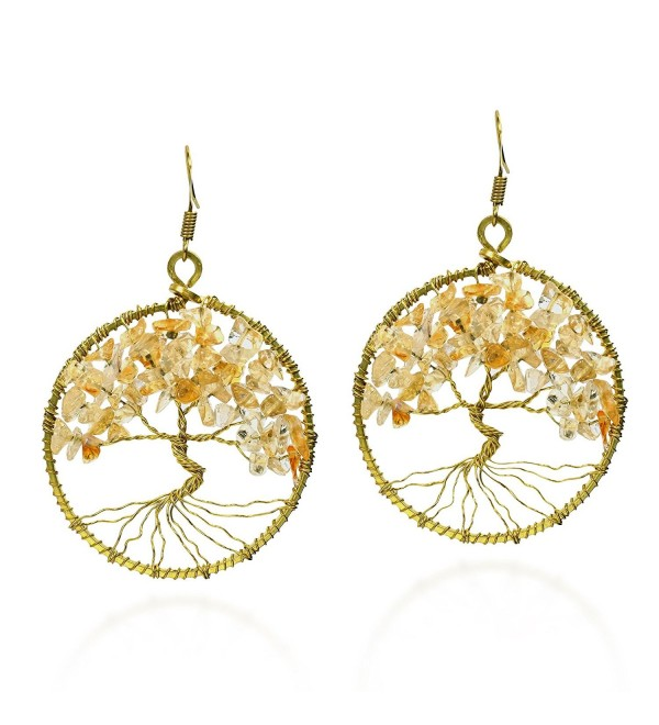 Eternal Tree of Life Yellow Citrine Stone Branch Brass Dangle Earrings - CC12HUG8RQR