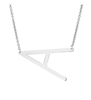 Rinhoo Stainless Steel Silver Initial Alphabet 26 Big Letters Script Name Pendant Chain Necklace From A-Z - CQ17YSXAMM0