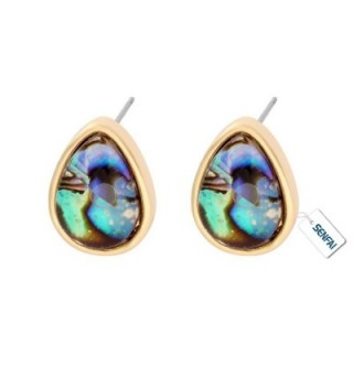 SENFAI Created Blue Green Abalone Paua Shell Stud Earrings Gold plated - Gold Water drop - CX12N4SJ8DI