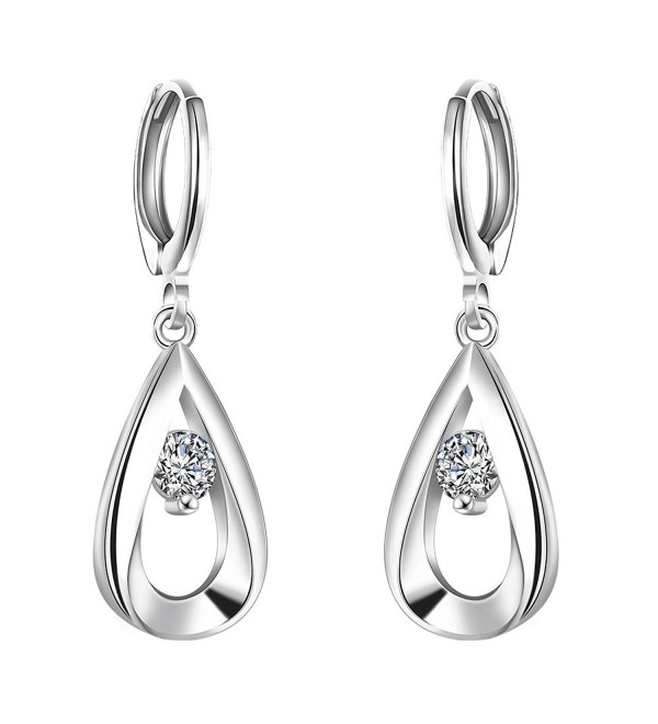 WIBERN 925 Silver Plated AAA CZ Dangle Earring Female Bling Women Young Jewelry - CQ12N3AYOX7