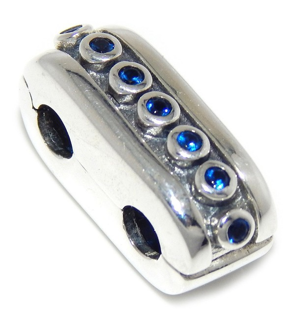 Pro Jewelry 925 Solid Sterling Silver Band of Blue Crystals Clip Lock Charm Bead - CQ12OBAN8KV