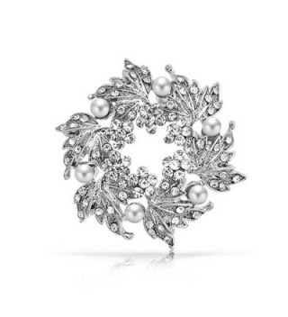 Bling Jewelry Simulated Pearl Flower Crystal Wreath Brooch Rhodium Plated - CA11BHNX82X