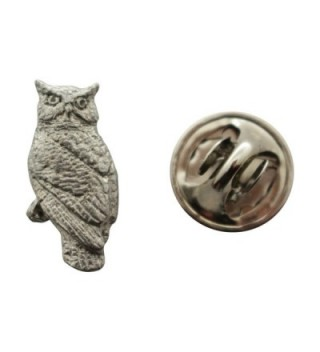 Owl Mini Pin ~ Antiqued Pewter ~ Miniature Lapel Pin ~ Sarah's Treats & Treasures - CV12H6URJ0R