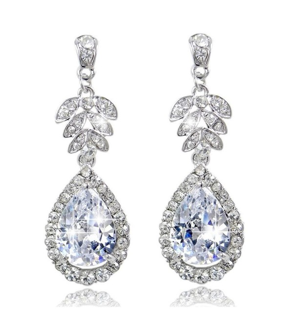 EVER FAITH Wedding Silver-Tone Flower Leaf Teardrop Clear Zircon Dangle Earrings Crystal - CZ11BGDNO5P