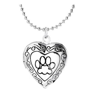 Cute Dog Paw Print Love Heart Lockets Animal Necklace Pendant Living Memory Lockets 18K Rose Gold Plated - C1184ZSI008