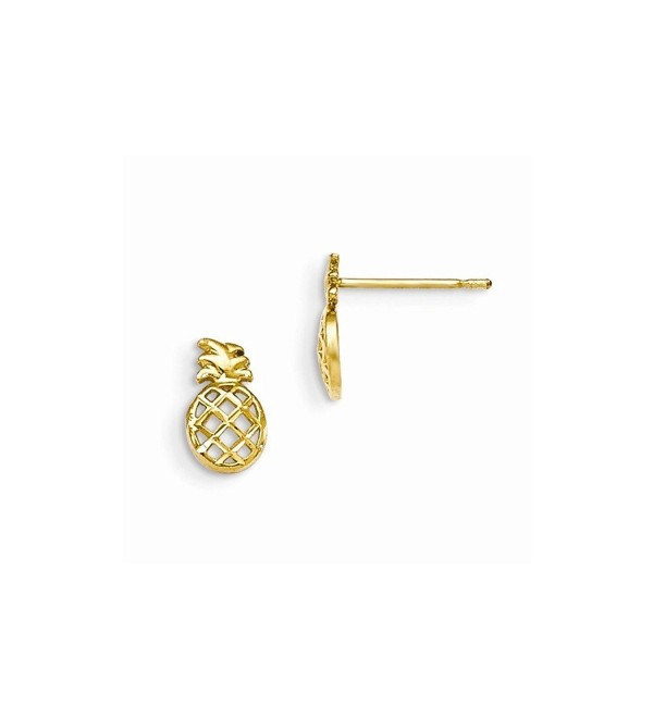 14k Yellow Gold Madi K D/C Children's Pineapple Post Earrings - CJ12BJNTGV7