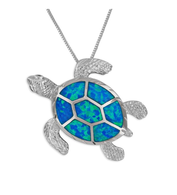 "Sterling Silver Synthetic Blue Opal Turtle Pendant Necklace- 16+2"" Extender - CO1295WK7E9"