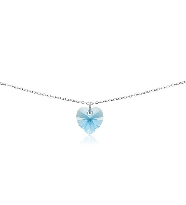 Sterling Silver Heart Choker Necklace Made with Swarovski Crystals - Light Blue - March - CI187I0IMHN