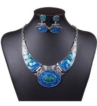 SDLM Luxury Indian Vintage Costume Jewelry Chunky Collar Resin Necklace Stud Earring Set - Blue - C912N23Q70E