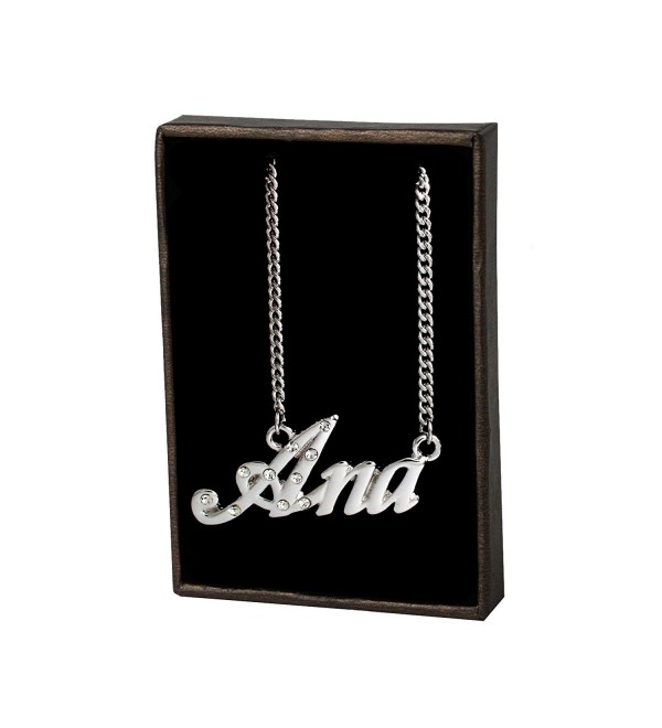 "Name Necklace ""Ana"" - 18K White Gold Plated - CT11KPM4JCZ"