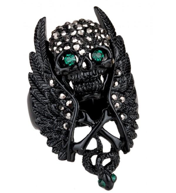 YACQ Women's Crystal Wings Skull W Cross Snake Stretch Rings Scarf Ring Buckle Clip - Dark black - C512KQ0GAD5