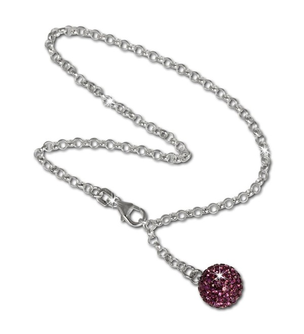 SilberDream anklet glitter ball with purple Zirconia- 925 Sterling Silver 9.8 inch SDF010V - CG118O2CT57