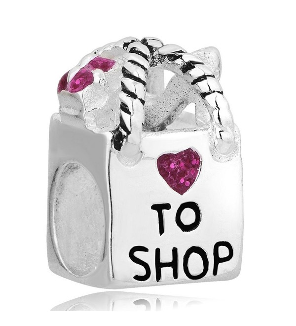 LovelyCharms 925 Sterling Silver Shopping Bag Purple Heart Crystal Beads Fit Bracelets - CA12HICIR5J