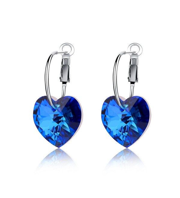 LadyRosian Sterling Earrings Swarovski Crystals - Blue - C317YAM4K2L