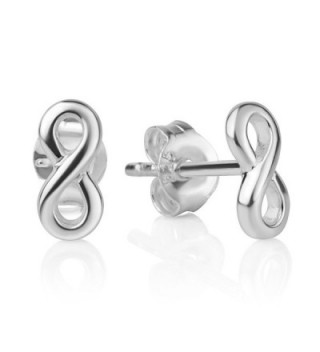 925 Sterling Silver Tiny Classic Infinity Eternity Endless Love Symbol 8 mm Post Stud Earrings - C717WXO943S