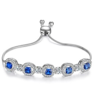 Caperci Sterling Silver Cushion-Cut Created Blue Sapphire Adjustable Bolo Bracelets for Women- 9'' - CI185LC9OCR