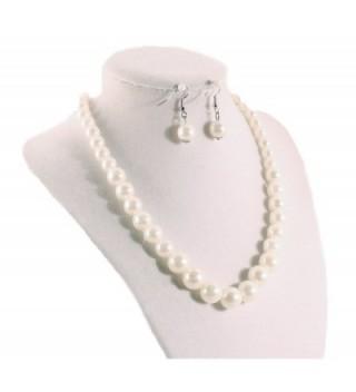 Pearl Necklace Earrings Set Wedding