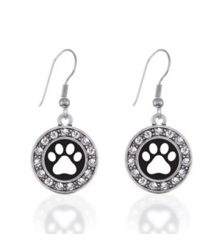 Inspired Silver Black and White Paw Print Circle Charm French Hook Earrings - CL12J71NSFN