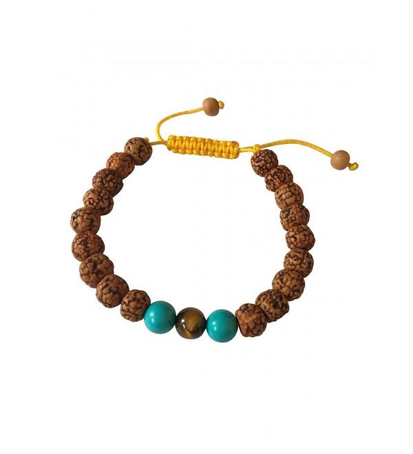 Tibetan Mala Rudraksha Wrist Mala Yoga Bracelet with Turquoise and Tiger Spacers - CV127IXIX1V