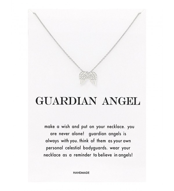 Zealmer Good Luck Elephant Angel Wings Thin Chain Card Wish Necklace for Women - Angel Wings Pendant - CA1840AHIQ5