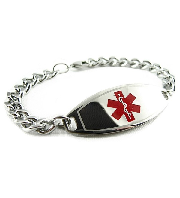 MyIDDr - Pre-Engraved & Customized Diabetes Type II Medical ID Bracelet- Red - C5119I6ZH8T