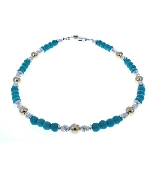 Womens Turquoise Magnesite- 14K Gold Filled & Sterling Silver Ladies Beaded Gemstone Anklet - C412NAZEGPP