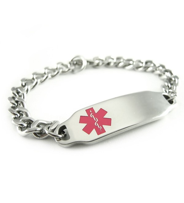 MyIDDr - Pre-Engraved & Customizable Hypoglycemia Medical Alert ID Bracelet- Pink Symbol - CH116JR9OUH
