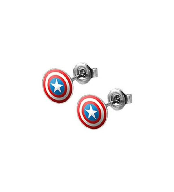 Captain Americas Shield Stud Earrings - Pair - CM118HDUB0D