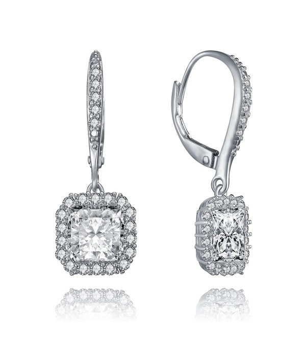 Lux Glam Romantic Zirconia Earrings Surrounded - Square Shape - C512L9G6TQT
