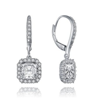 Lux Glam Romantic Zirconia Earrings Surrounded - Square Shape - C512L9G6TQT