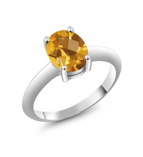 1.60 Ct Solitaire Checkerboard Yellow Citrine 925 Sterling Silver Engagement Ring - C011NCQQZ0F
