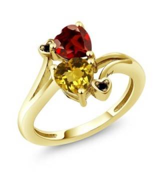 1.63 Ct Heart Shape Yellow Citrine Red Garnet 18K Yellow Gold Plated Silver Ring - C112O0L1KRO