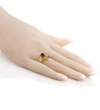 Yellow Citrine Garnet Plated Silver in Women's Wedding & Engagement Rings