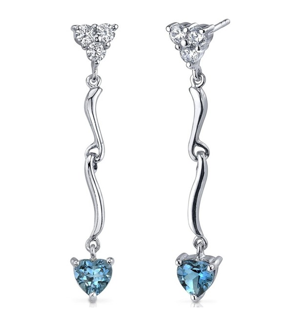 2.00 Carats London Blue Topaz Heart Dangle Earrings Sterling Silver Rhodium Nickel Finish - C7116LWIXMF