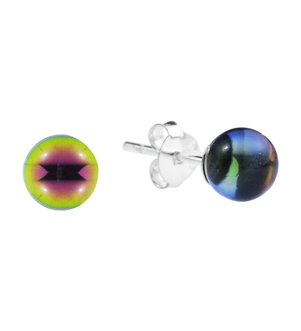 5 mm Rainbow Fashion Crystal Round Ball .925 Sterling Silver Post Earrings - CM11GN1EQJ3