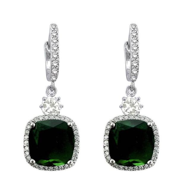 SELOVO Halo Drop Leverback Dangle Earrings Hoop Silver Tone - green - C412N72M8SC