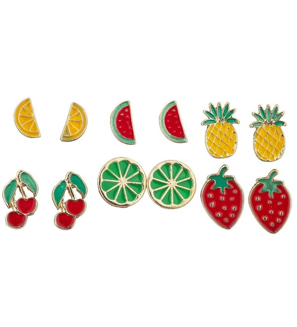 Lux Accessories Gold Tone Enamel Tropical Fruit Multi Earring Set (6pc) - CW12N5P9250
