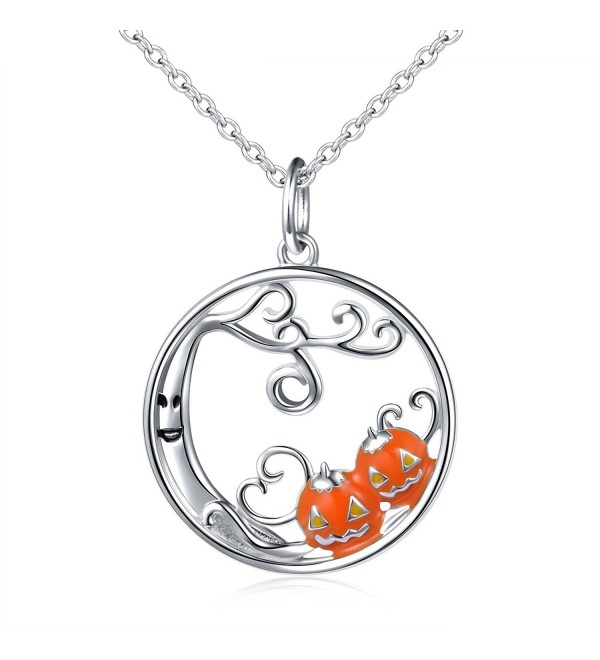 "S925 Sterling Silver Pumpkin and Devil Forest Pendant Necklace for Women 18"" - CF185GH52MW"