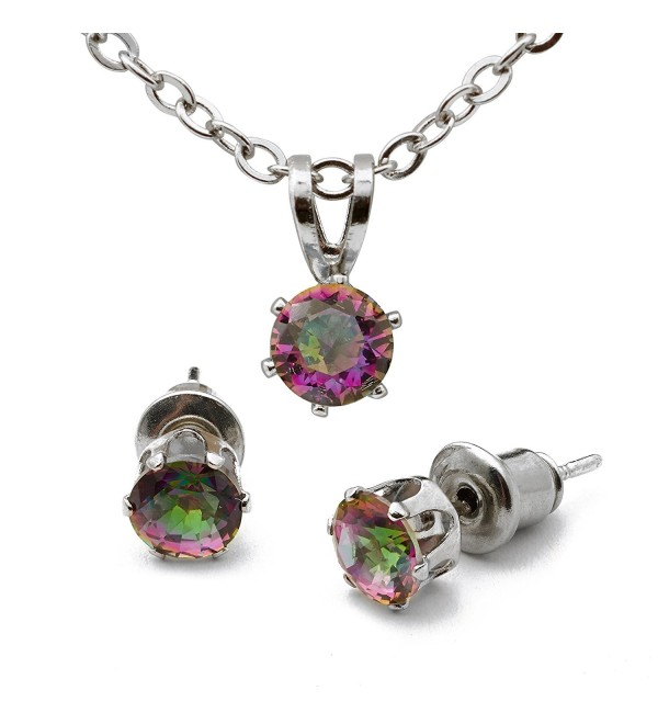 LoveBling Created Gemstone Mystic Topaz 4.8mm Birthstone Stud Earring Pendant Set w Sterling Silver Chain - C6186NU4AIE
