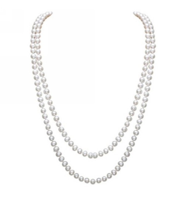 Merdia Elegant Women Lady Long White Created Pearl Sweater Necklace Beaded necklace - CN11Y47461L