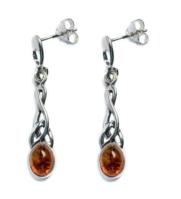 Honey Amber Sterling Silver Small Oval Celtic Earrings - CC1124196KZ