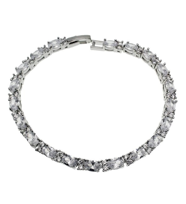 Tennis Bracelet Silver Oval Cut 4mm Sparkle Cubic Zircon 7 inches - CS183CXA7T5